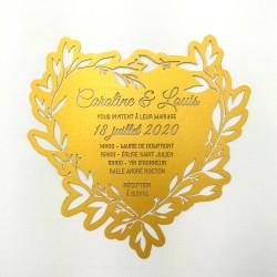 faire part mariage coeur doré découpe laser