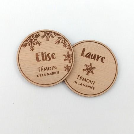 badge bois mariage hiver flocon