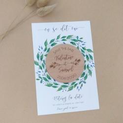 magnet save the date bois végétal