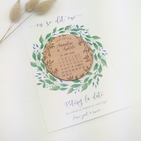 magnet save the date en bois calendrier