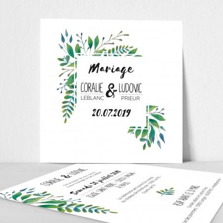 faire-part mariage feuilles vertes aquarelle