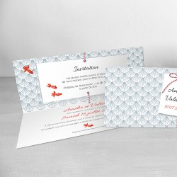 faire-part mariage rectangle ecaille