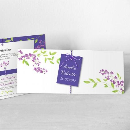 faire-part mariage lila violet aquarelle