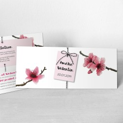 faire-part mariage chic fleur rose aquarelle