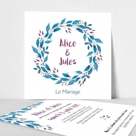 faire-part mariage feuilles bleues aquarelle