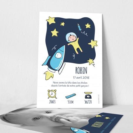 Faire part naissance illustration originale astronaute fusée