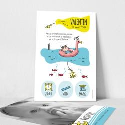 Faire part naissance illustration thème marin phare bouée flamant rose poissons encre avion