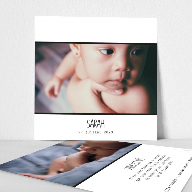 Faire part naissance grande photo recto verso chic