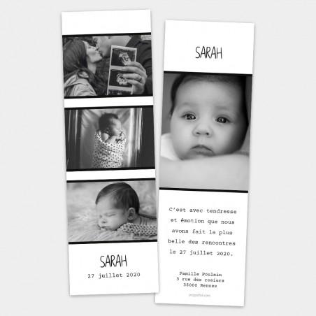 Faire-part naissance marque page photo moderne noir blanc