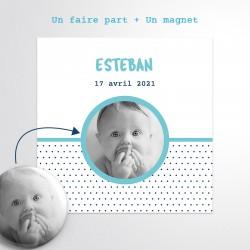Carte badge magnet faire-part naissance garçon