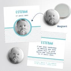 Faire-part naissance original magnet photo rond pois bleu