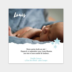 faire part naissance photo aquarelle bleu