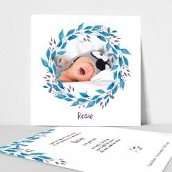 Faire part naissance couronne végétale aquarelle bleu prune