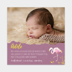 Faire part naissance original flamant rose mauve jaune fille photo