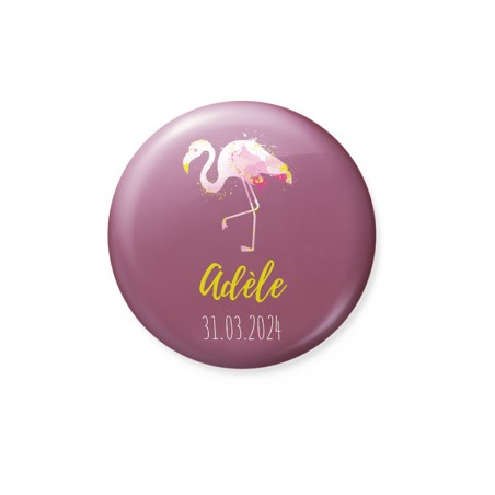 Badge et Magnet faire-part naissance flamand rose fond prune