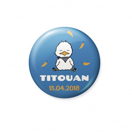 Faire part naissance magnet badge poussin blanc bleu orange