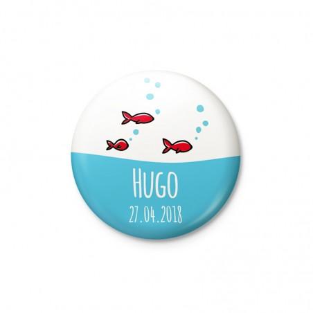 Faire part magnet rond poissons rouges