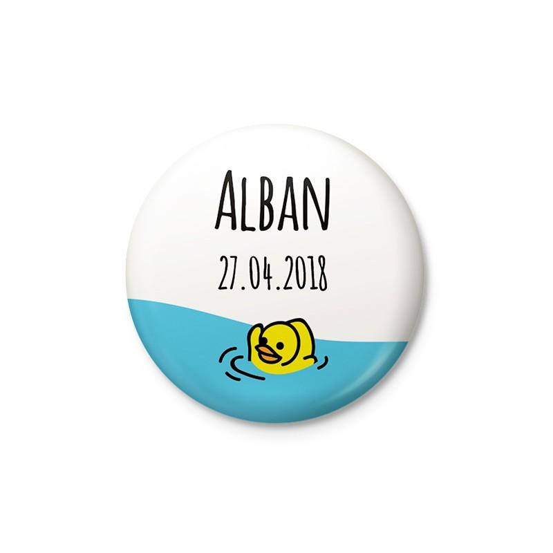 Faire-part naissance original badge magnet caneton jaune