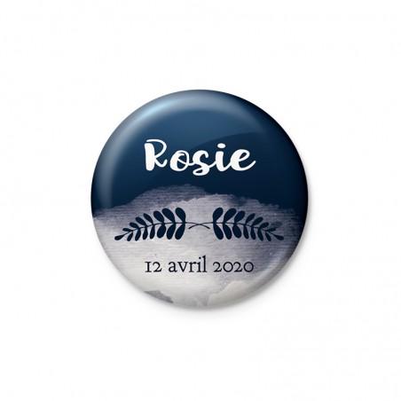 Badge faire part magnet végétal bleu