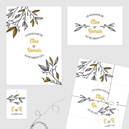 Faire part mariage thème végétal branches carton invitation étiquette jaune noir