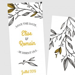 Faire part mariage save the date feuillage