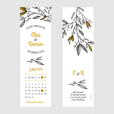 Marque page save the date mariage provence illustration feuilles branches