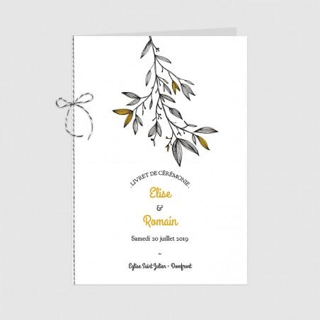 Couverture et ficelle de livret cérémonie mariage illustration branche provence