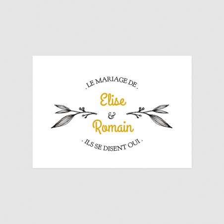Carton d'invitation mariage Provence feuille