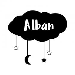 sticker personnalisé prénom nuage