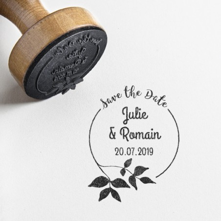 tampon save the date mariage feuillage