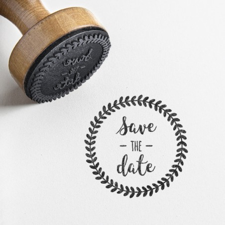 Tampon rond save the date mariage feullage