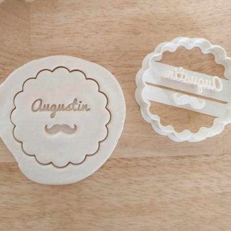 Emporte pièce moustache prénom personnalisé cookie cutter