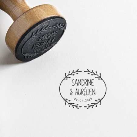 tampon mariage champetre brindille feuille
