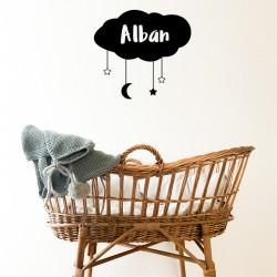 sticker mural noir nuage chambre bébé prénom enfant