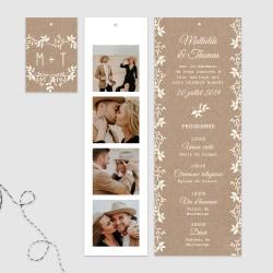 Faire part mariage 3 cartons étiquette photo carton invitation kraft fleuri lien