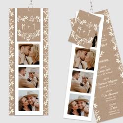 Faire part mariage photomaton marque page kraft champêtre