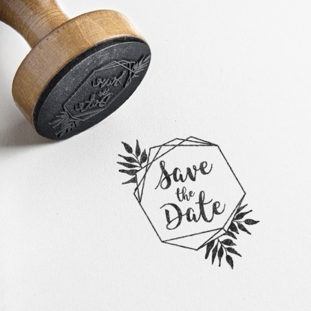tampon save the date hexagonal