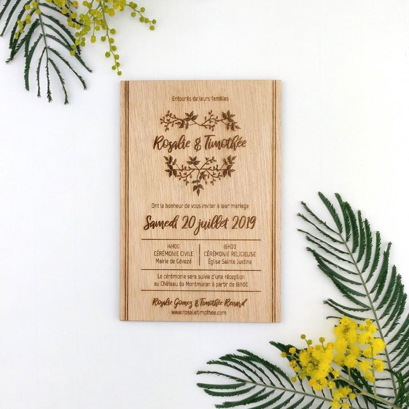 faire-part mariage bois gravé champêtre coeur fleurs